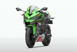 2022-kawasaki-zx-25r---lime-green-ebony-blizzard-white-front-left-angle-view